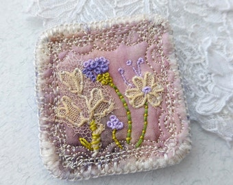 Embroidered Brooch,eco silk,stitched flowers,antique lace,pink and purple,textile brooch