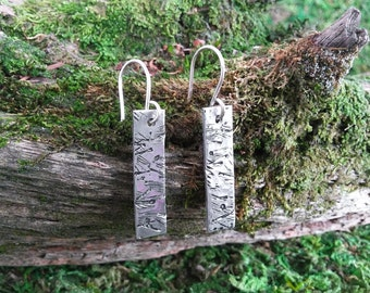 Birch: Long aluminum tag earrings with birch bark texture on sterling silver hooks