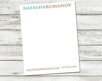 Notepad, Personalized Notepad, Custom Name Note Pad, Custom Personalized Notepad, Email and Phone