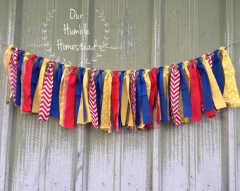 Red, Yellow, and Blue Fabric Banner - Primary Colors, Birthday Decor, Bedroom Decor, Photo Shoot Prop