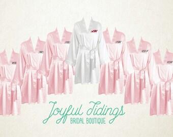 FREE ROBE Set of 7+ Pink Satin Kimono Robes, Bridesmaid's Gift, Bridal Party Robes, Set of Bridesmaids Robe, Wedding Robe, Bridal Robe Gown
