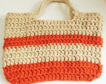Tote Bag, Chunky Crochet, Orange and White