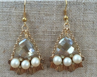OOAK Vintage assemblage crystals and pearls matte gold tone statement chandelier earrings
