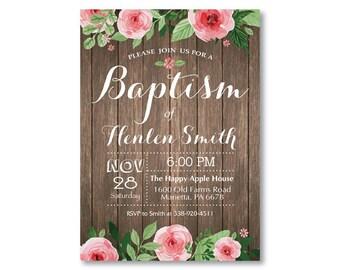 Rustic Baptism Invitation. Floral Baptism Invitation. Girl or Boy Baptism. Christening. Spring Summer Flower. Vintage. Printable Digital.