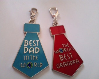 Ready for Use with Lobster Clasp Best Dad/Grandpa in the World Inspirational Charm Man Father Grandfather Gift fit Key Bag Zipper Charm Chai