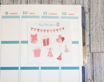 Pink mini Birthday Sticker Kit for Planners
