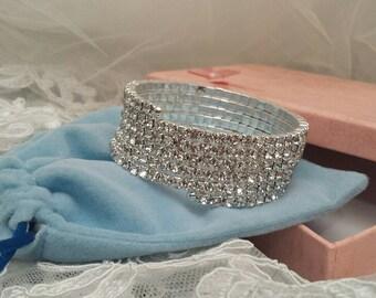 WRAP Bracelet, 6-Row Rhinestone, Cuff Bracelet, 2.2 cm wide