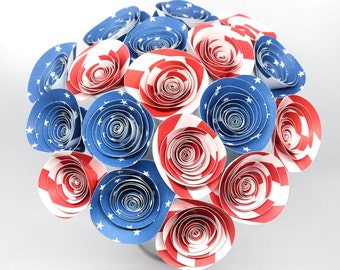 Patriotic Centerpiece- 18 Red White & Blue Paper Flowers, Ready to Ship 4th of July BBQ Decorations, Stars and Stripes Decor, American Flag