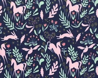 Magic Folk Unicorn Navy Blue - Metallic - Sarah Jane for Michael Miller - Cotton Woven Quilt Fabric - by the yard fat quarter half