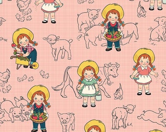 Farm Girl Main Pink by Riley Blake Designs - Vintage Pigs Cow Chicken Milk - Quilting Cotton Fabric - by the yard fat quarter half