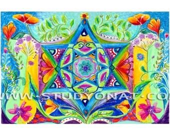 Jewish art, jewish star, Magen David, Shield of David, kabbala art, Judaica, מגן דוד ,watercolor, Original Judaica ,colorfull  judaica print