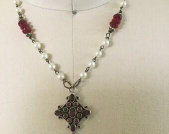 Garnet memories: vintage assemblage necklace
