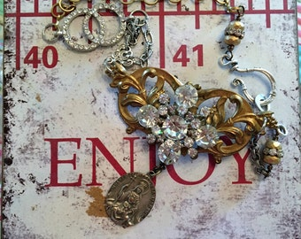Rhinestone madonna bling: a vintage assemblage necklace, repurposed jewelry