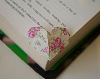 Set of 3 Handmade Origami Heart Bookmarks