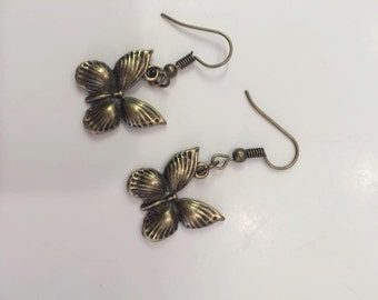 bronze butterfly earrings