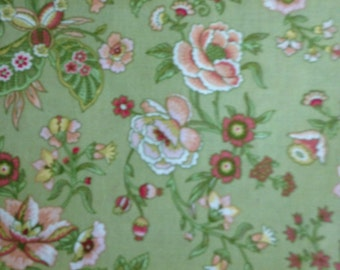 Peach and Rust Flowers on Olive Green Background, 100% Cotton