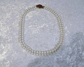 Beautiful Vintage Slide Clasp White Beaded Necklace