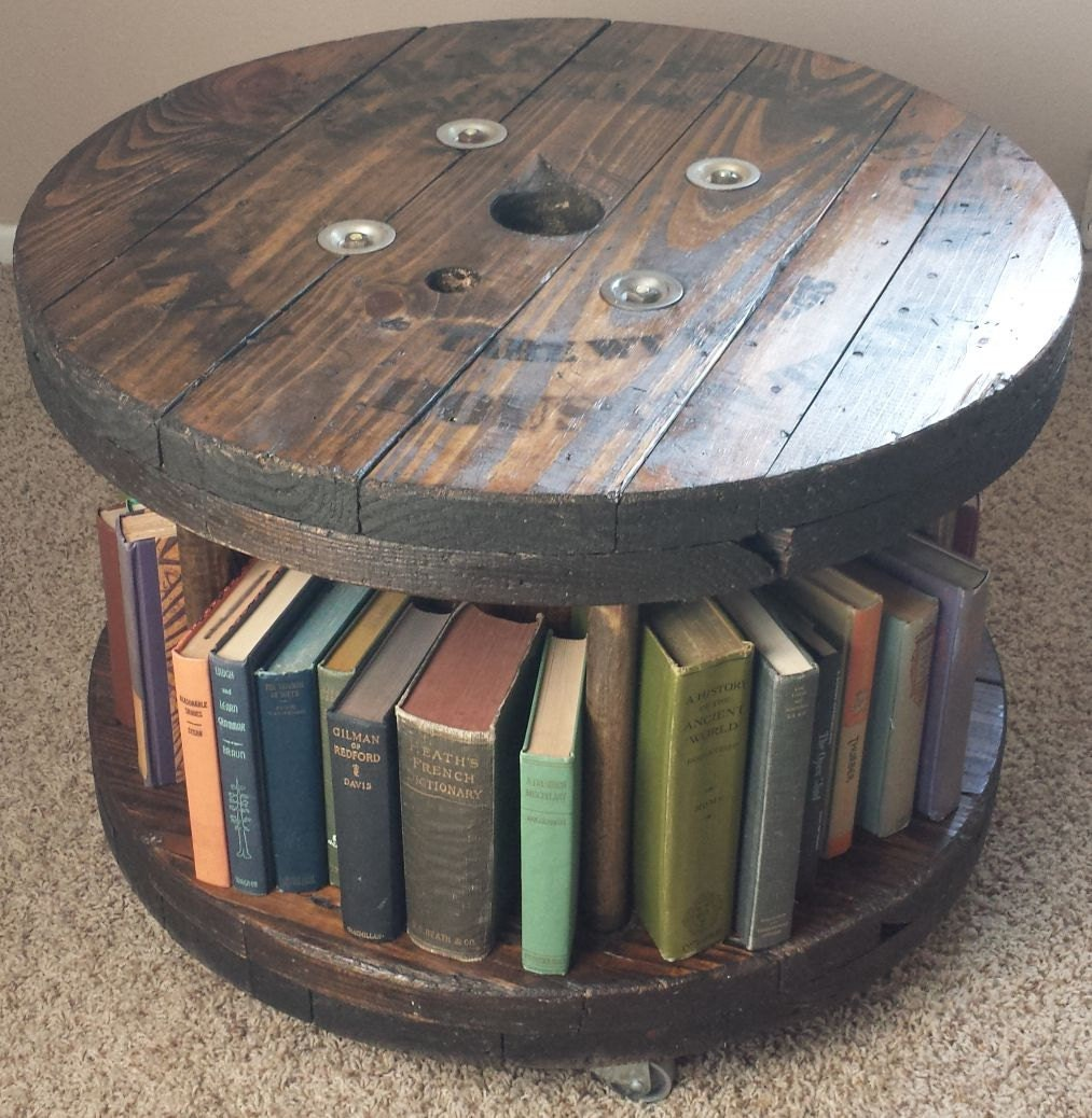 reclaimed wood cable spool coffee table on casters by. Black Bedroom Furniture Sets. Home Design Ideas