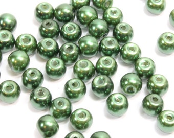 Dark Green Glass Pearls. (25) Small Round Green Pearls for Making Necklaces.  Dark Green Pearls. Light Green Beads. Green Pearls. 6mm