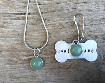 Green Aventurine Dog Collar Charm and Necklace