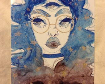 Cosmic Love Watercolor Art Print