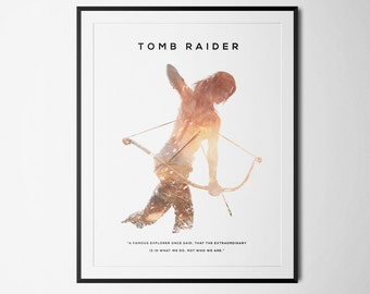 Tomb Raider Inspired Double Exposure Poster Print - Video Game Art
