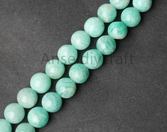 B193 Natural Amazonite Beads, AAA Round Blue Amazonite Gemstone 6 8 10 12mm Beads For Necklace Bracelet Jewelry Craft Making