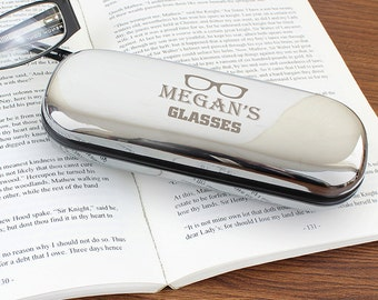 Custom glasses case, Christmas gift for her, Brother Birthday, personalised glasses case, chrome plated glasses case, glasses case hard