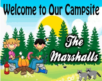 Welcome to Our Campsite Sign Couple at Campfire-Add Name