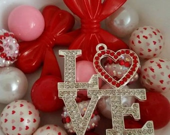 Valentines Day LOVE Necklace Mix 20mm Beads