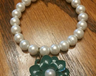 Pearl Bracelet with Teal Flower Charm