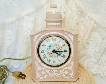 Pink Clock/Sessions/Electric Clock/Vintage Pink Clock/Sessions Clock/Pink Alarm Clock/Ceramic Clock/Bedside Clock/Vintage Sessions Clock