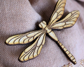 Dragonfly laser engraved wood pin brooch