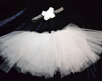Smash the cake kit, tutu and headband, white, Perfect for pictures