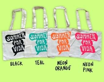 Summer Por Vida Tote Bag