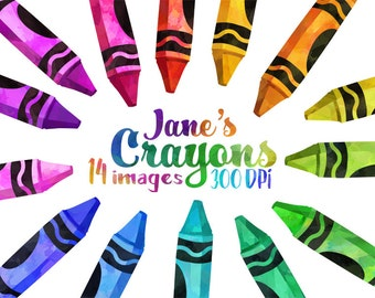 Watercolor Crayon Clipart - School Items Download - Instant Download - Watercolor Rainbow Crayons