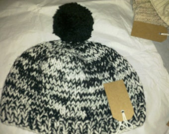 Black and White Bobble Hat