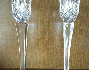 Set of 2 Gorham Lady Anne Candlesticks - Single Light - 24% Lead Crystal - 8""