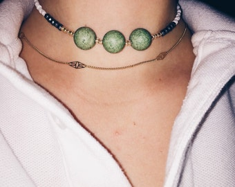 Triple Green Bead Necklace