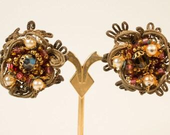 50s earrings, clip earrings, beads, mid century, vintage