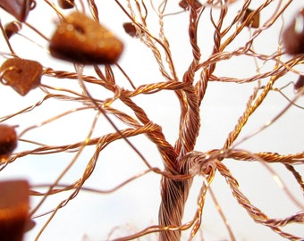 Copper Tree of Life Sculpture with Goldstone Chips, Nature Inspired Wire Tree Statue in Earth Tones, Home or Office Decor, Made to Order