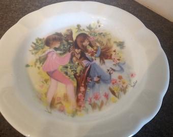 Vintage French FD Chauvigny Porcelain Set of 2 Ashtray / Trinket / Small Dessert Plates.