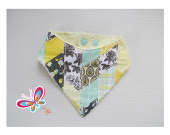bandana with patch Mint/yellow with yellow Terry cloth backing