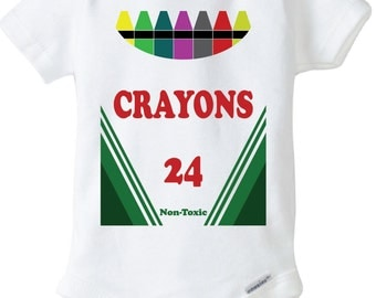 Crayon Onesie Design, SVG, DXF Vector Files for use with Cricut or Silhouette Heat Transfer Vinyl Cutting Machines.  PNG for Direct Printing