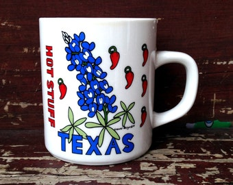 Texas HOT STUFF Chili Peppers and Bluebells Coffee Mug 1987