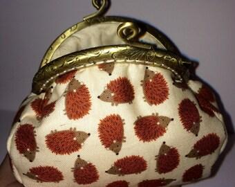 Purse, Coin Purse, fabric purse, framed purse, clasp purse, hedgehog purse