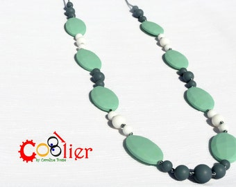 Light green, withe and gray,  diamond CoolCoolier, teething necklace for moms, nursing necklace, silicone necklace, chewy necklace