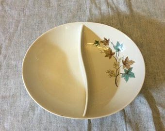 Vintage Syracuse Woodbine Oval Divided Vegetable Dish with Fall Leaves, Carefree Fine China Oval Bowl