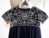 Boho Beach Short Sleeves Navy Blue Beaded Chiffon Flower Girl Dress Junior Bridesmaid Wedding Party Dress/F0036
