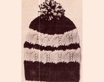 Genuine Vintage Quirky Broken Cable Bulky Ski Cap Hat Knitting Pattern PDF